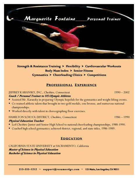 Personal Trainer Resume Sample by Personal Trainer Resume Resume Sample Workalpha
