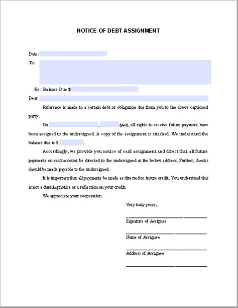 Notice Of Assignment Letter Of Credit notice of debt assignment free fillable pdf forms