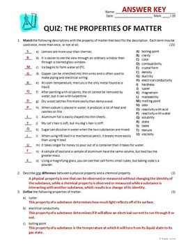 Properties Of Matter Worksheet Answers by Science Properties Of Matter Worksheets Answer Key