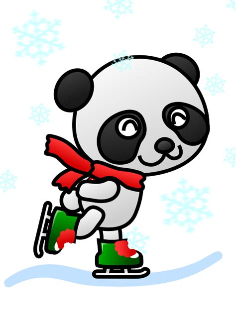 cute christmas panda bear animal clipart ice skating pencil and in color animal