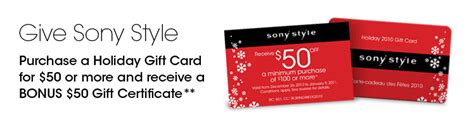 Sony Style Gift Card - sony style canada buy a 50 gift card receive a 50 certificate canadian freebies