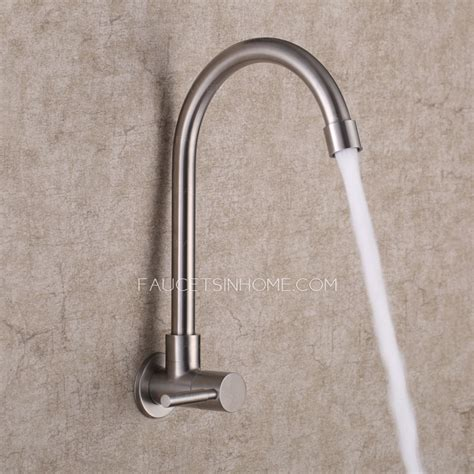 Kitchen Wall Faucets Modern Wall Mount Polished Nickel Rotatable Kitchen Faucet