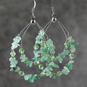 green jade big tear drop hoop earrings handmade by