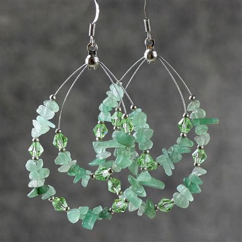 Earring Handmade - green jade big tear drop hoop earrings handmade by