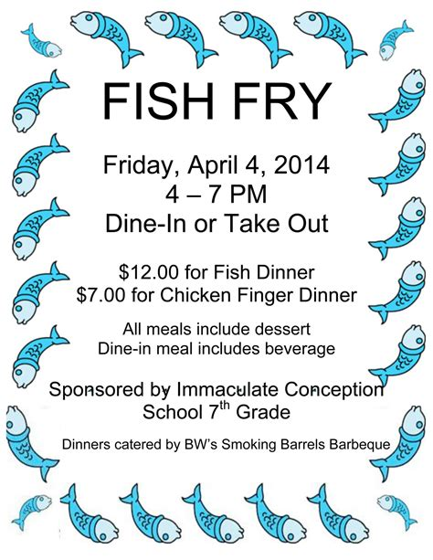 Fish Fry 7th Grade Friday April 04 2014 4 00 Am 7 00 Pm Fish Fry Menu Template