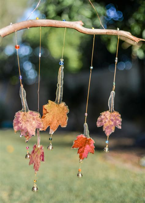 Handmade Glass Wind Chimes - handmade fall leaf wind chime with glass free
