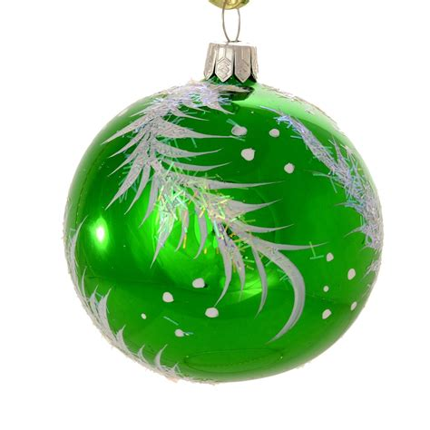christmas ornaments world quot twig quot green glass christmas