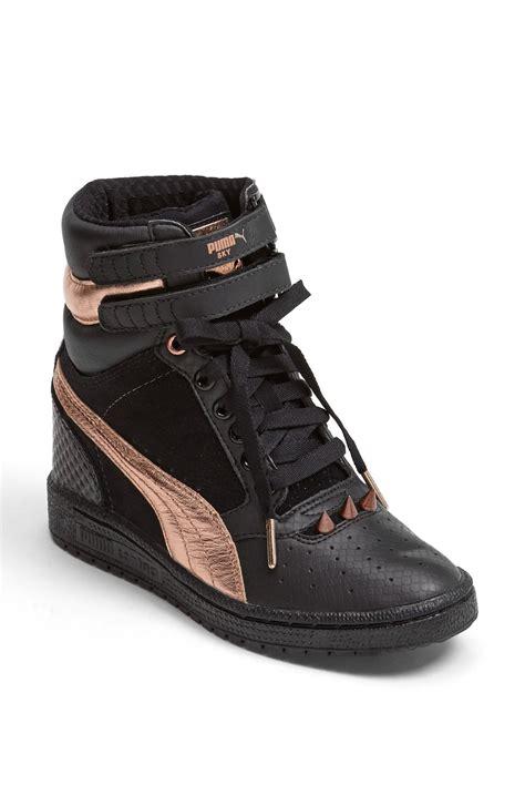 Sneakers Wedges Black White sky wedge rosegold sneaker in black black white lyst