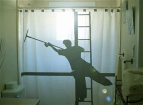 funny shower curtains for sale shower curtain funny window cleaner squeegee ladder man