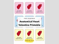 Free Printable - Anatomical Heart Valentine - My Heart ... Journaling Cards Downloads
