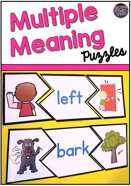 printable homograph puzzle my 2nd grade students love these multiple meaning word