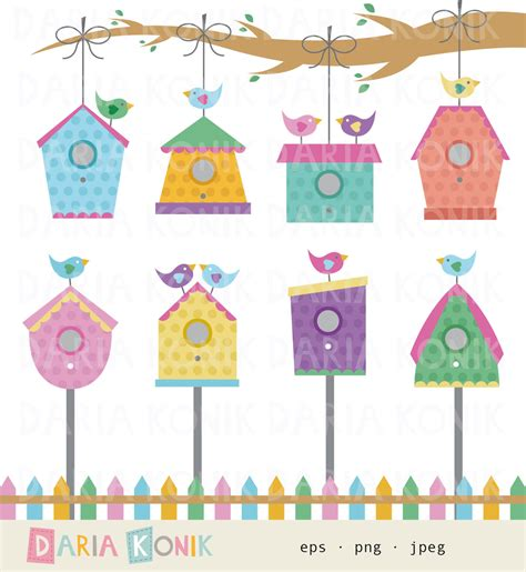 birdhouse clip art birdhouses birds branch fence colorful