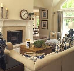 Beige And Navy Living Room by Would Like A Two Way Fireplace To Be More Open To Kitchen