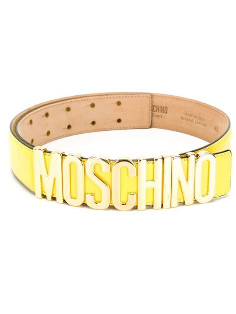 Moschino Belt lyst moschino logo plaque belt in yellow
