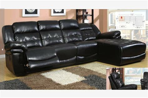 Leather Sectionals With Chaise And Recliner by Black Leather Reclining Sectional Sofa Recliner Chaise Adjustable Back