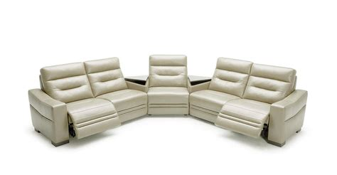 leather reclining sectional with console vig divani casa ivy grey leather recliners consoles
