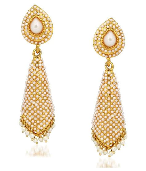 meenaz kundan pearl jhumka earrings for in