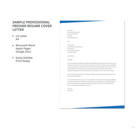 professional resume format for freshers free 10 cover letter templates for freshers free premium