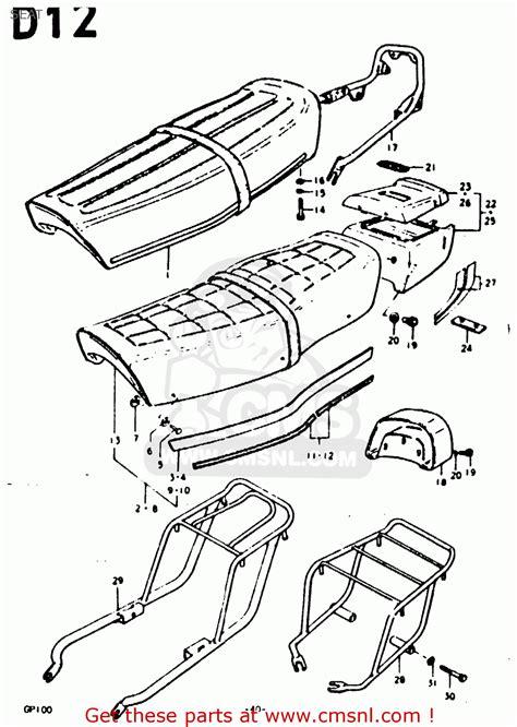 Suzuki Gp100 Parts Suzuki Gp100 1978 C Seat Schematic Partsfiche