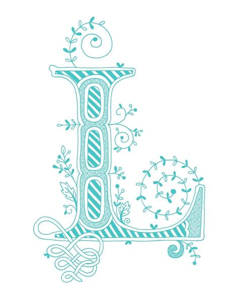 Blue And Green L by Monogrammed Print 8x10 The Letter L In By