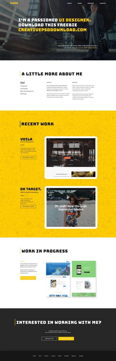 Portfolio Website Template Ui Free Psd Ui Website Templates