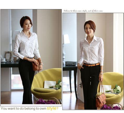 Baju Kerja Kemeja Blouse Wanita Korea Import Putih Biru White Pink kemeja kerja wanita putih modis model terbaru jual murah import kerja