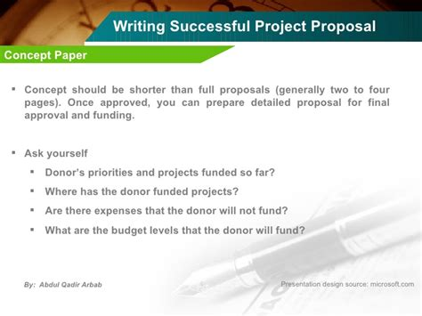 writing a concept paper for a project writing successful project