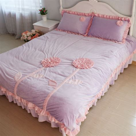 purple velvet comforter sets queen spring new arrival super soft velvet sunflower bedding