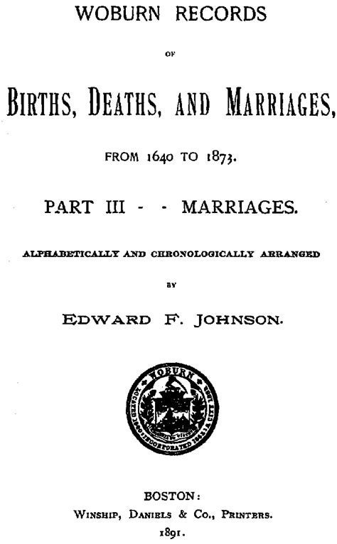 Boston Marriages Vital Records Vital Records Of Woburn Ma 1642 To 1849 Marriages