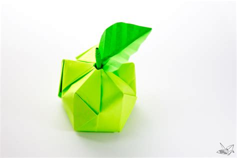 Apple Origami - 3d origami apple leaf tutorial paper kawaii