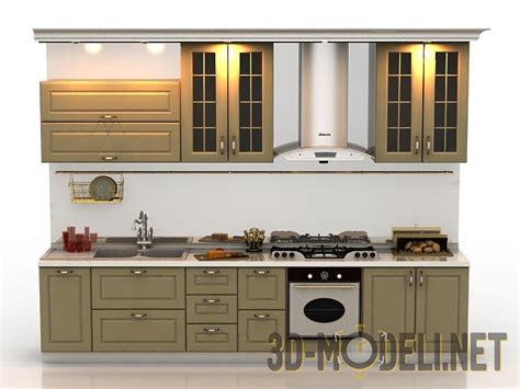 free download kitchen design 3d модель компактная кухня в стиле 171 прованс 187