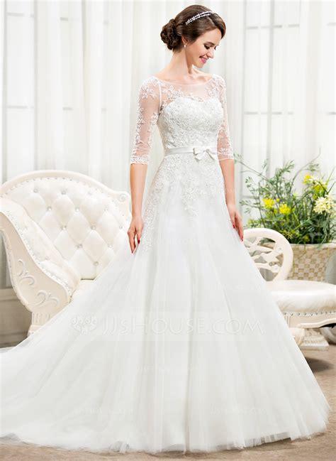 Chapel Wedding Dress by A Line Princess The Shoulder Chapel Tulle Lace