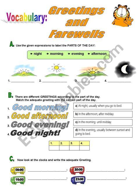 greetings worksheets for greetings and farewells esl worksheet by atlantis1971
