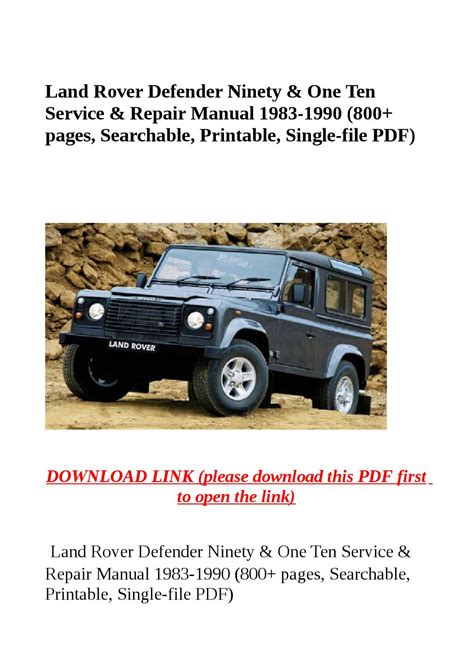 how to download repair manuals 1995 land rover discovery auto manual land rover defender repair manual free ggettdeck