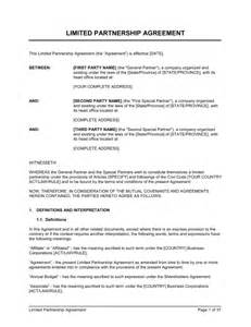limited partnership agreement 2 template amp sample form