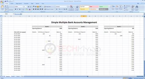 excel bank account spreadsheet