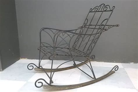 wrought iron rocking chair vintage antique wrought iron rocking chair with wood runners