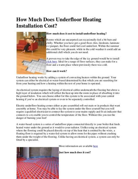 How much does underfloor heating installation cost