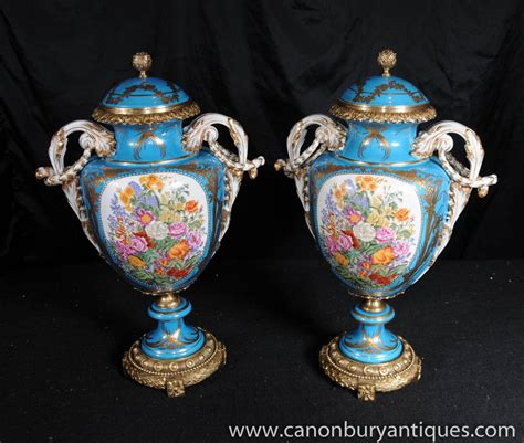 Sevres Vases by Pair Sevres Porcelain Floral Vases Urns Ormolu Fixtures Ebay