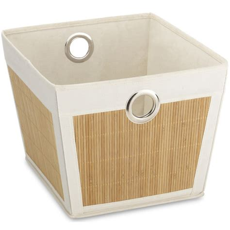 canvas storage containers bamboo and canvas storage tote small in shelf bins