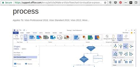 visio package how do i find the process tab in microsoft visio