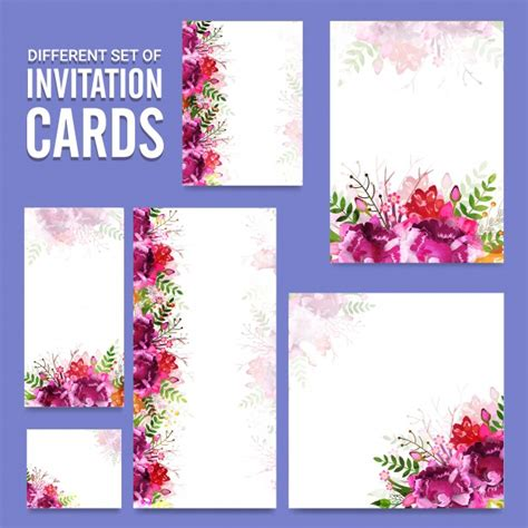 invitation card design ai set of different invitation cards with floral design
