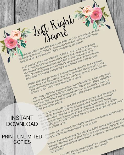 Left Right Baby Shower Printable by Printable Left Right Baby Shower Garden Flowers
