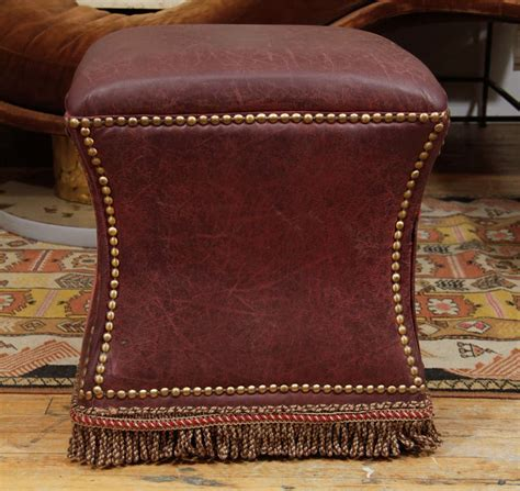Distressed Leather Ottoman Vintage Distressed Leather Ottoman With Nailhead Detailing At 1stdibs