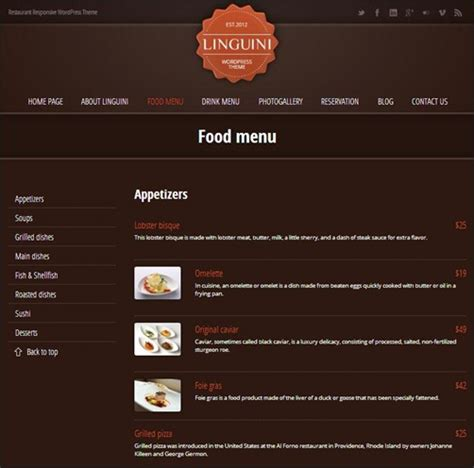 menu layout in wordpress 30 wordpress restaurant menu templates want to get famous