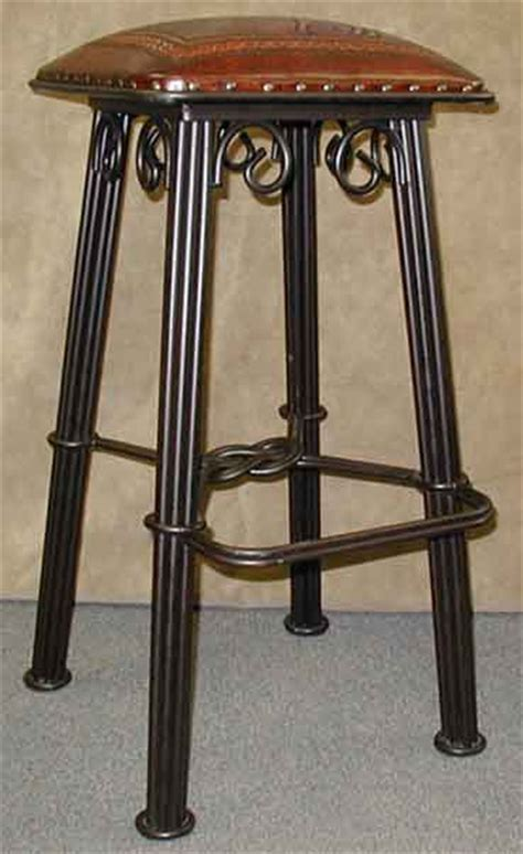 Wrought Iron Bar Stools With Leather Seats by Wrought Iron Bar Stool With Leather Seat In Western Designs