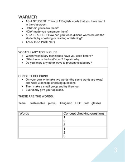 vocabulary lesson plan template tp teaching vocabulary lesson plan