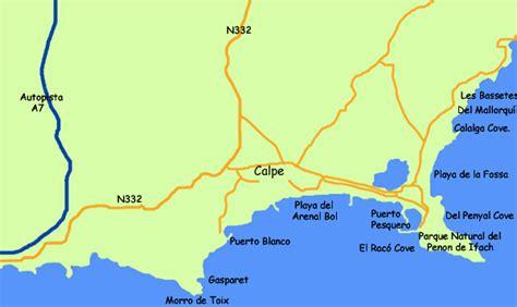 calpe spain map beaches in calpe costa blanca spain