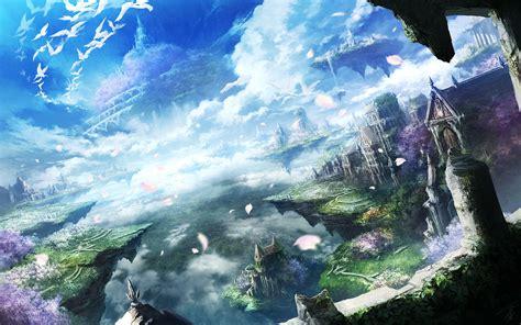 Anime Island by Anime Sky City Landscape Floating
