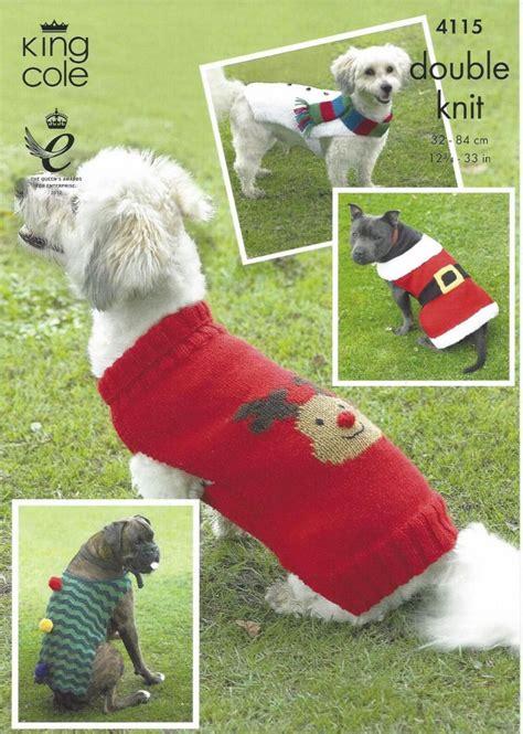 knitting pattern for christmas dog coat king cole 4115 christmas dog coats knitting pattern
